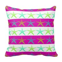 Summer Beach Theme Starfish on Purple Stripes