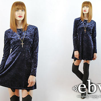 Vintage 90s Grunge Midnight Blue Crushed Velvet Mini Dress XS S Blue Velvet Dress Goth Dress Grunge Dress Babydoll Dress 90s Grunge Dress