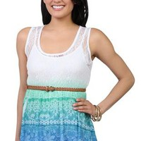 dip dye lace baby doll tank with belted waist - 91000047505 - debshops.com