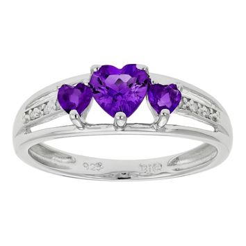 Sterling Silver Triple Heart Birthstone Ring with Diamond Accent