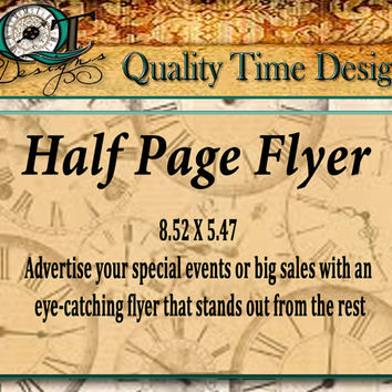 Custom Half Page Flyer Personalize with your logo, text, and photos, Full Color one side Events Big Sales  Handouts