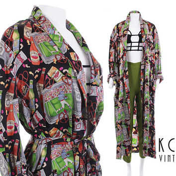 NICOLE MILLER Silk Duster Jacket Beer Print 1990 Novelty Print Silk Robe Coors Light Miller Football Party Gift 90s Unisex Vintage Xs - XL