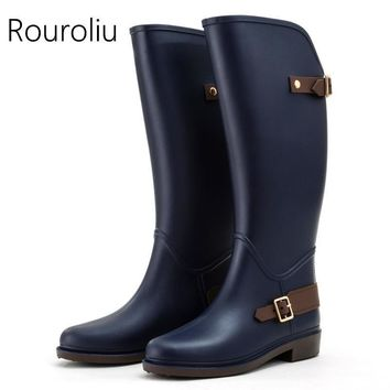 New Arrivals Women Fashion Flat Heels Knee-high Rain Boots Non Slip Tall Buckle Rainbo