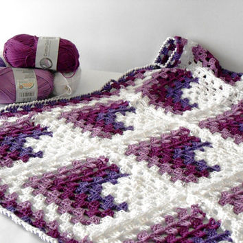 Vegan Crochet baby blanket, Pram baby blanket, baby shower afghan, 100%cotton blanket, Granny square blanket by cosediisa