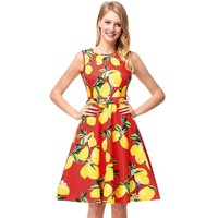 Ruiyige Lemon Print Dress