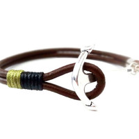 FREE SHIPPING, Leather bracelet, Men leather bracelet, Unisex bracelet,Anchor bracelet,Men jewelry