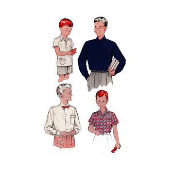 "1950's Butterick 5839 Boy's Sport Shirts Size 6 || Chest 24""/ 61cm 