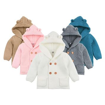 Baby Boy Knitting Cardigan 2019 Winter Warm Newborn Infant Sweaters Fashion Long Sleeve Hooded Coat Jacket Kids Clothing Outfits