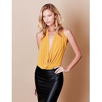 LE3NO Womens Lightweight Sexy Low Cut Halter Top with Stretch
