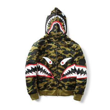a0364444e New Men's Camouflage Shark Mouth Print Hoodie Plus Cashmere Sweater Men  Women Hooded Autumn Winter Jacket