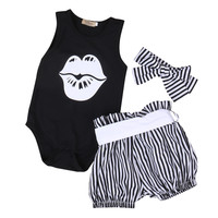 3PCS / Black Sleeveless Romper + Striped Bloomer + Headgear Outfit for NB Girls