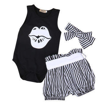 3PCS 2017  Newborn Baby Girl Clothes Summer Sleeveless Slip Romper +Striped Bloomers Bottom Outfit Toddler Kids Clothing Set