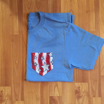 Patriotic Pocket Tee / 4th Of July Pocket Tee / Womens Tshirt / Womens Fashion / Patriotic Tshirt / Womens Pocket Tee / Memorial Day
