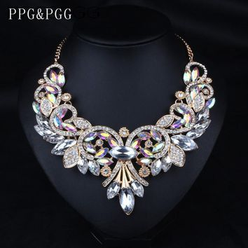 Crystal Flower Chain Choker Statement Necklaces Pendants Rhinestone Bib Collar