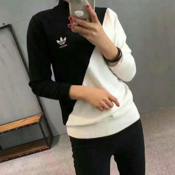 """Adidas"" Women's Fashion Knitting Black/White Long-sleeves Pullover Tops Sweater"