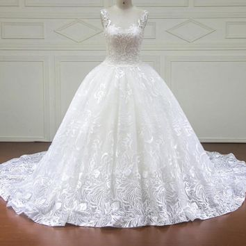 Wedding Dress Royal Train With Lace Beading Ball Gown Wedding Dresses