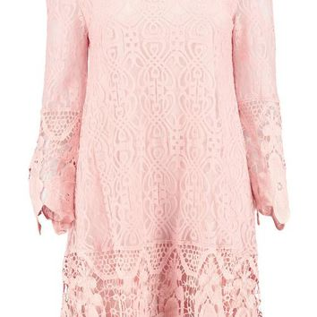 Boutique Maddie Flower Lace Long Sleeve Smock Dress | Boohoo