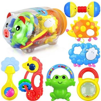 Baby Plastic Rattles And Teether In Piggy Tank