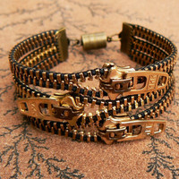 Uno Dos Tres Steampunk Bracelet  Zipper by PeteAndVeronicas