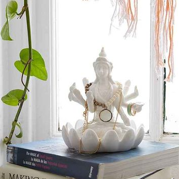 Durga Lotus Jewelry Stand- White One
