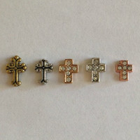 Floating charms for living memory lockets vintage gold and silver cross, gold crystal cross, silver crystal cross, rose gold crystal cross