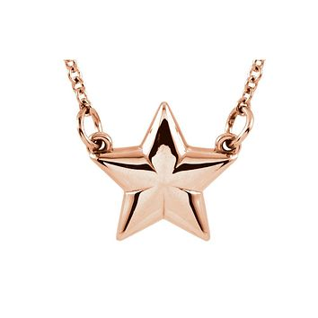 Polished Small Star Necklace in 14k Rose Gold, 18 Inch