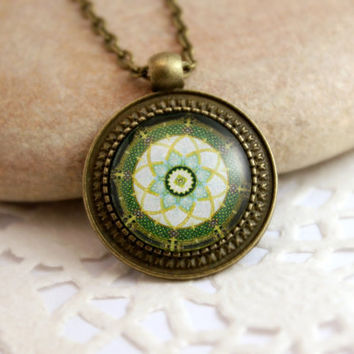 Green Mandala Necklace, Antique Bronze Pendant,Glass Cabochon Pendant With Chain