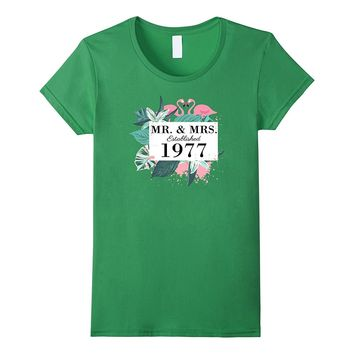 Mr.& Mrs. est. 1977 Anniversary T-Shirt for Flamingo lovers
