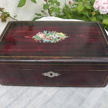 french vintage wooden box with key, french box, french home decor, vintage chic box french country home, french farm house french wooden box