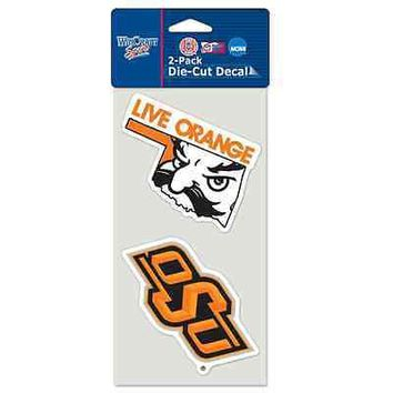 "OKLAHOMA STATE COWBOYS 4""X4"" DIE CUT DECAL 2-PACK CAR HOME BRAND NEW WINCRAFT"