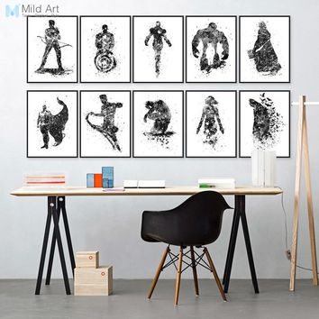 Batman Dark Knight gift Christmas Watercolor Superhero Avengers Infinity War Batman Pop Movie Posters Print Wall Art Picture Kids Room Home Decor Canvas Painting AT_71_6
