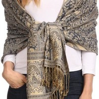 Sakkas Kalin Long Wide Woven Patterned Fringe Tassel Pashmina Shawl / Scarf