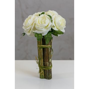 "12"" Modern Rose Bouquet Cream"