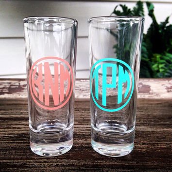 Wedding Shot Glass - Personalized - Custom - 21st Birthday - Bachelorette Party - Sorority - Monogram - Birthday Gift Girls Night