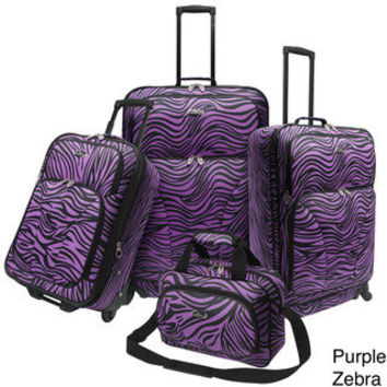 U.S. Traveler Fashion 4-piece Exotic Zebra Print Spinner Luggage Set | Overstock.com