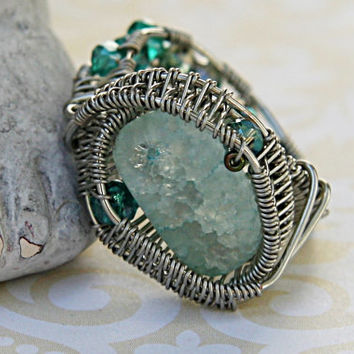 Light Blue Crackle Bead and Green Glass Faceted Beads, Cracked Glass Ring, Wire Wrapped Beaded Ring, Woven Wire Wrapped Ring, Blue Wire Ring