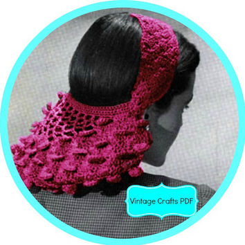 1940s Petal Snood Crochet Pattern-Vintage Snood–WW II-Bomb Girl Beauty-Film Noir-Vintage Crochet Hat Pattern-Headband-Hairband-Hair Net