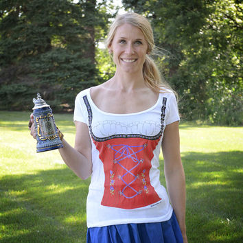Women's Oktoberfest Themed German Dirndl Costume T-Shirt