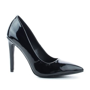 Cindy Black Patent By Delicious, Pointy Toe Slip On Classic Stiletto Heel Pumps