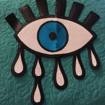 XL Crying Eye Sequin Iron-On Badge Patch Appliqué Large Avant Garde All-Seeing Illuminati Eye 80s 90s Lolita Punk Goth Tumblr Aesthetic