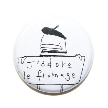 Cute Valentine Gift, Funny Magnets - 4Pk, Cute Fridge Magnets, J'Adore le Fromage, Bonjour, Paris, Beret, Black, White, Little French Poosac