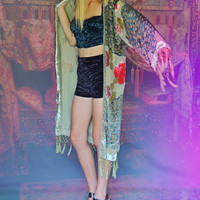 Hippie beaded silk fringe kimono / Sage green peacock velvet jacket / Stevie Nicks encrusted opera coat