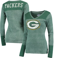 Women's Green Bay Packers Touch by Alyssa Milano Green Goal Line Long Sleeve V-Neck T-Shirt