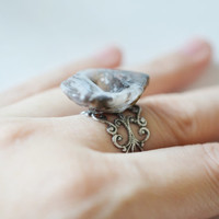 raw crystal ring,agate cocktail ring,antique silver filigree band,druzy ring,agate gemstone ring,cocktail ring,statement ring,matching ring