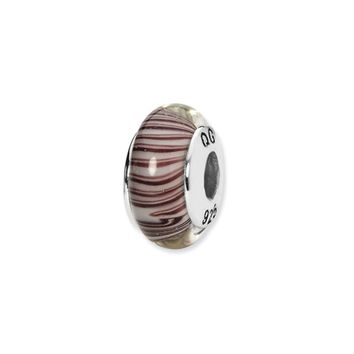 White/Mauve Hand-Blown Glass Bead & Sterling Silver Charm, 13mm