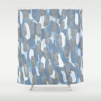 Painted Rain: Silver and Blue Shower Curtain by Kat Mun | Society6