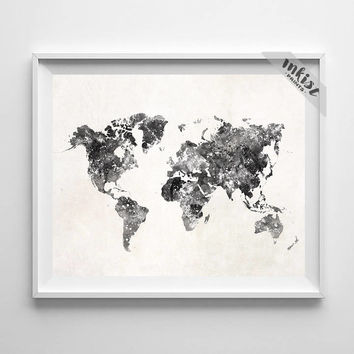 World Map Poster, World Map Art, World Map Watercolor, World Map Print, Watercolor Painting, Decor, Travel Poster, Type 4, Halloween Decor