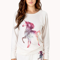 FOREVER 21 Unicorn Sleep Sweatshirt Cream/Multi Large