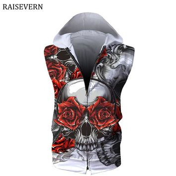 RAISEVERN Hoodies Men Women Devil Bride Skull Head 3D Print Sweatshirts Zipper Unisex Men Hoodies Sleeveless Tops 3XL