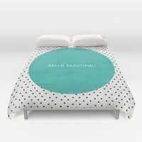 TEAL HELLO BEAUTIFUL - POLKA DOTS Duvet Cover by Allyson Johnson